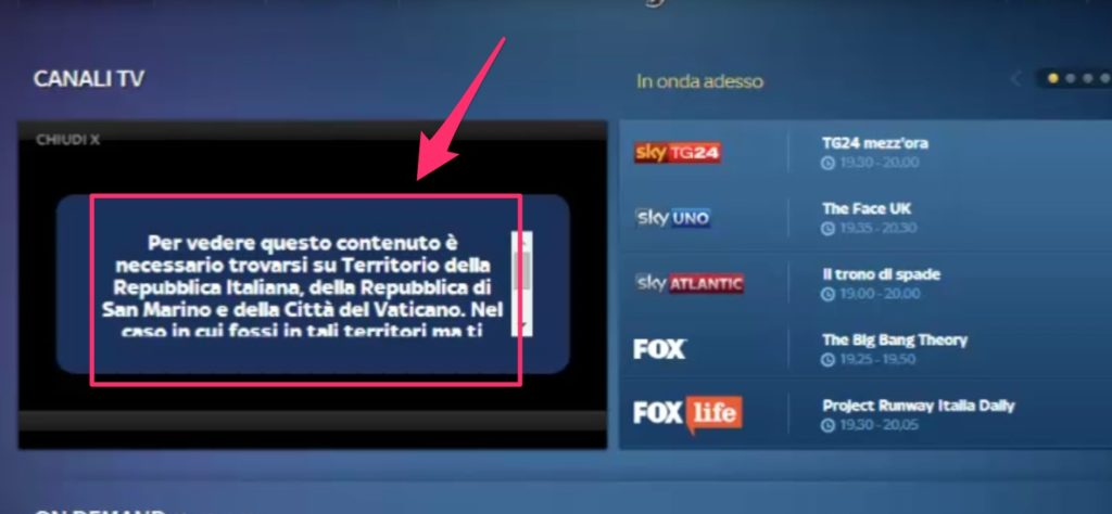 Se ti connetti a Sky Go all'estero il tuo account è bloccato